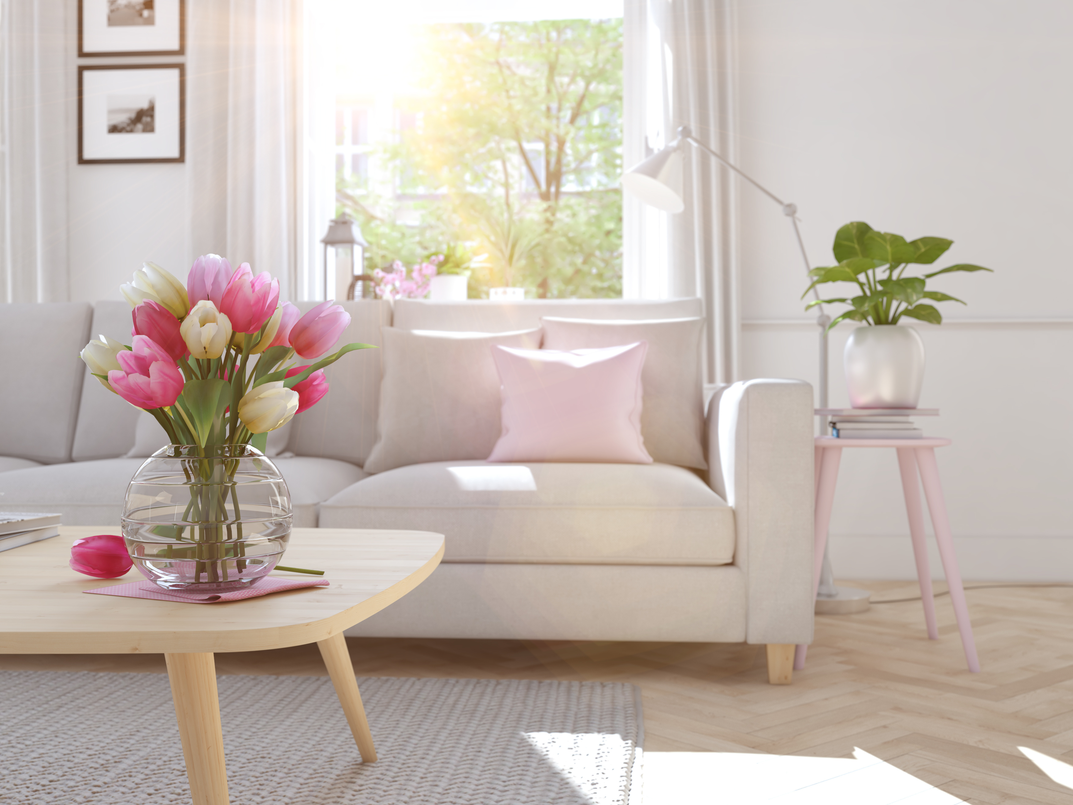 modern living room with tulips on table